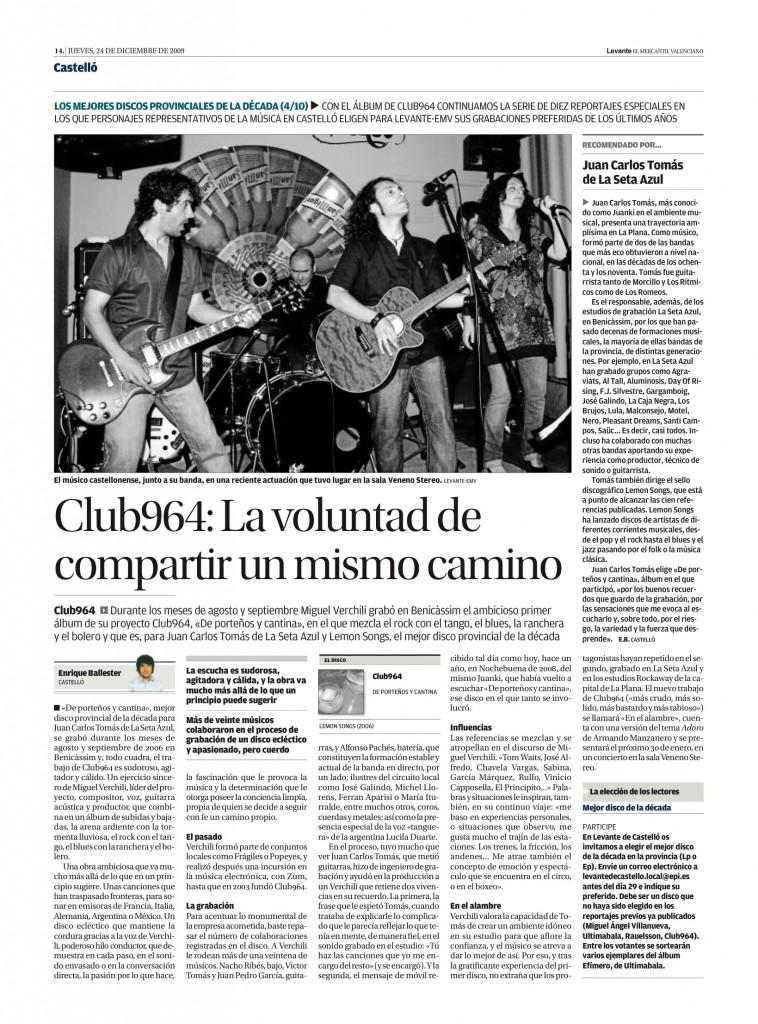 Club 964: 'De porteños y cantinas' (Lemon Songs, 2006) - La Seta Azul-Juan Carlos Tomás